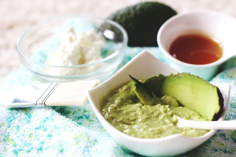 Avocado face mask for a radiant complexion.