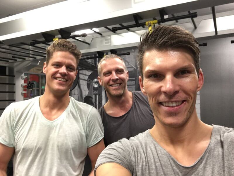 Florian Gschwandtner CEO of Runtastic after workout with two friends.