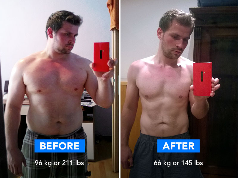 Before and after image of young man after loosing 30 kg.