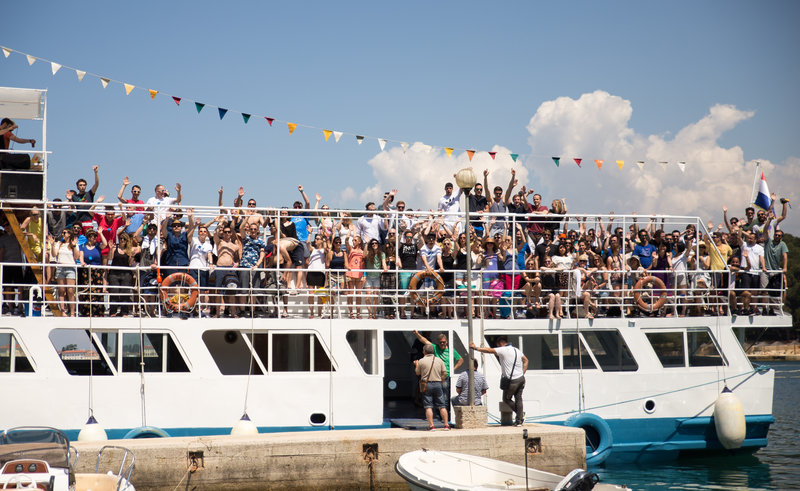People are celebrating on a Croatian party boat.