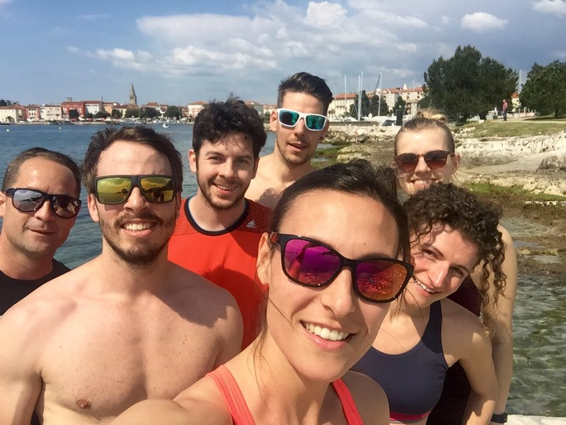 Part of the Runtastic Team in Croatia at the harbour.