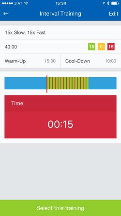 Screenshot Runtastic App Intervals