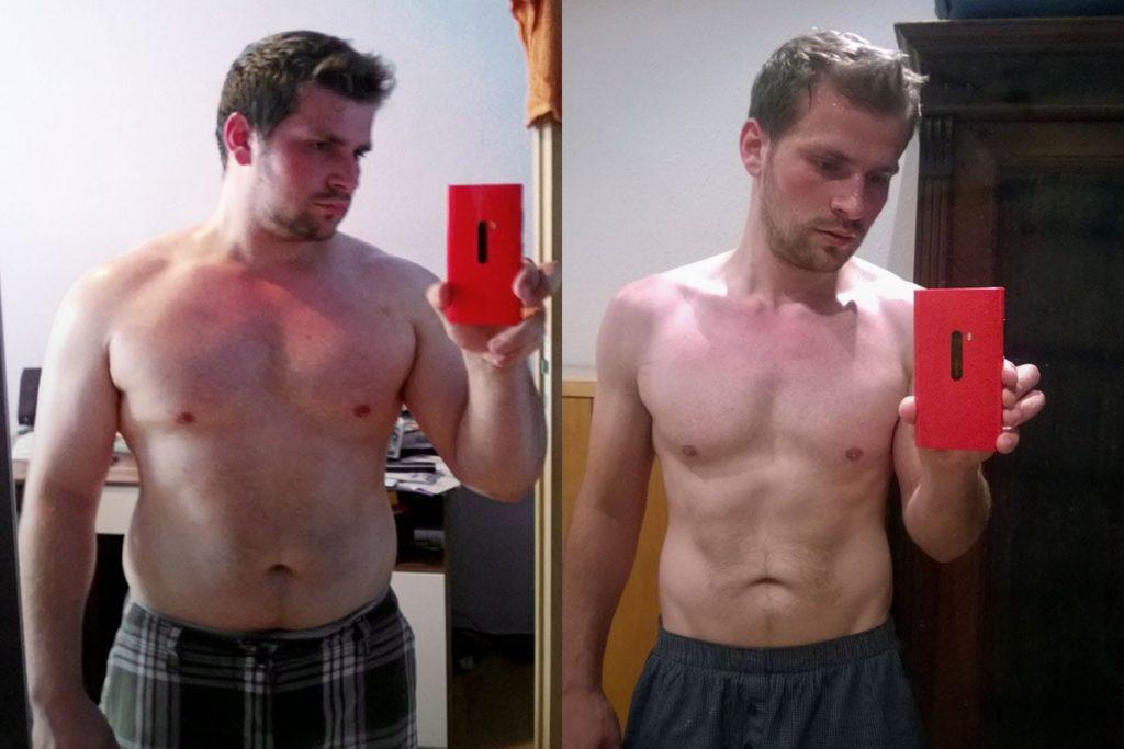 Vorher nachher Foto von einem jungen Mann, der 30 kg abgenommen hat.