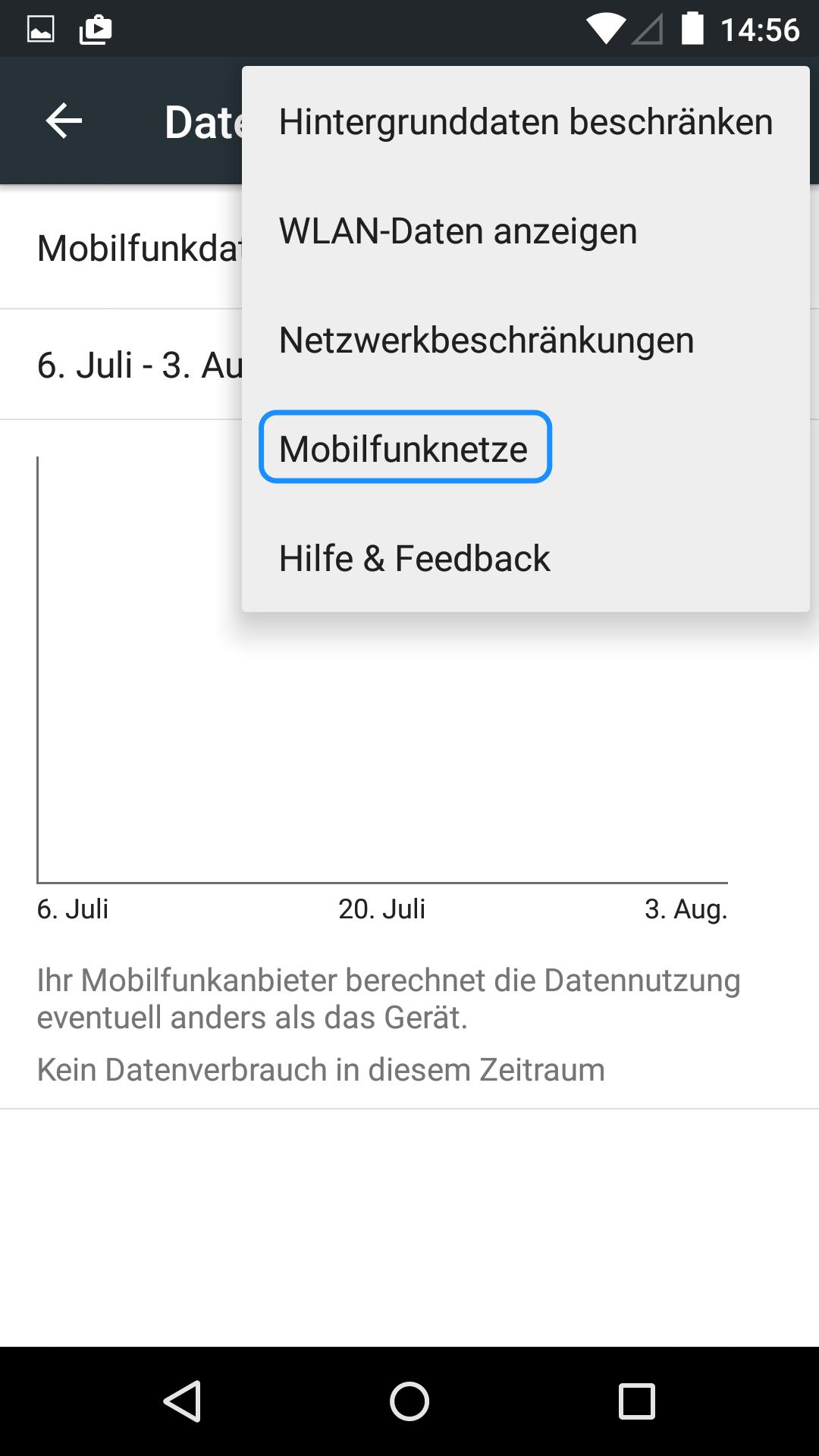 Abbildung wi man bei Android das Datenroaming abstellt.