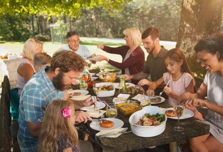 Family is eating outside