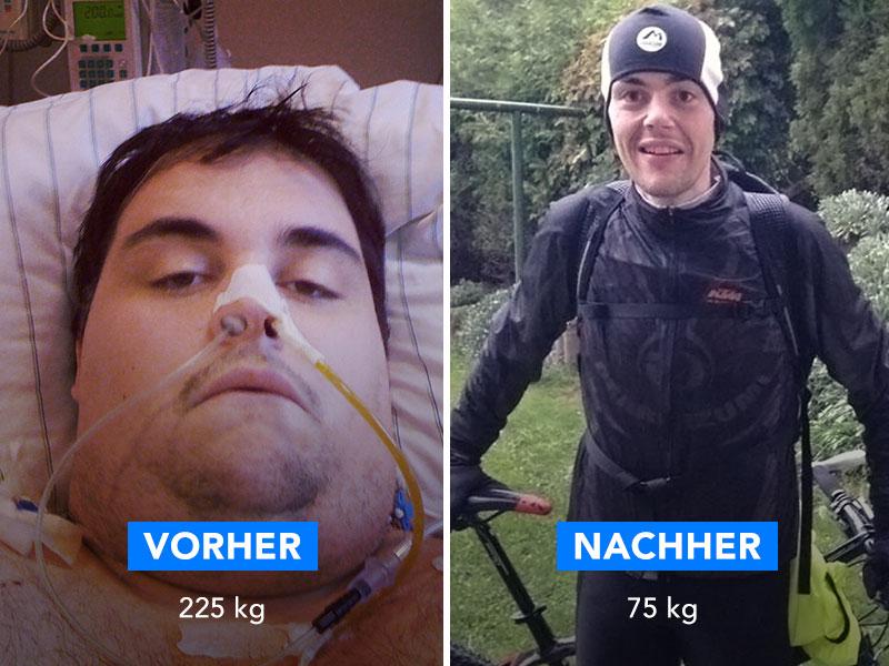 Ein Foto von Thomas: Links sieht man ihn auf Grund seiner Übergewichtigkeit Krankenhaus liegen und rechts als sportlichen, schlanken Mann mit Fahrrad.