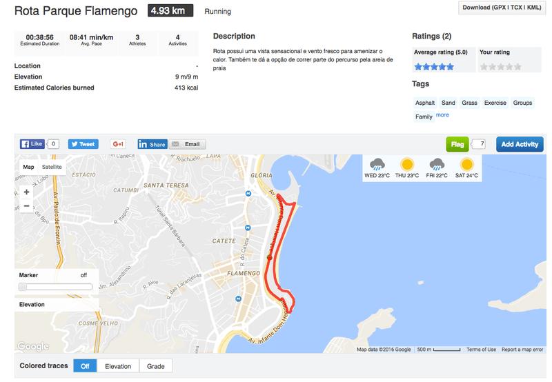 Runtastic Running Route Rota Parque Flamengo.
