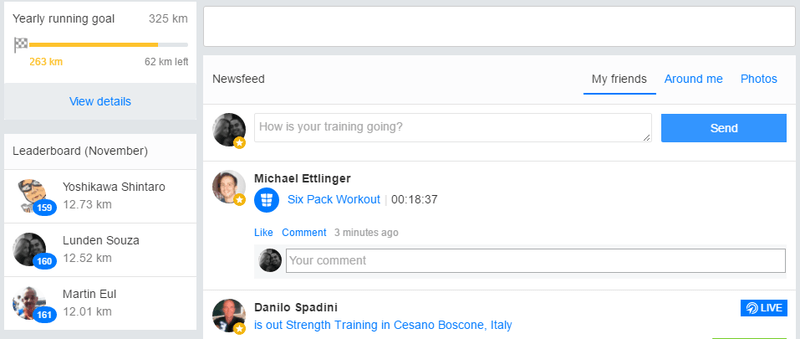 Screenshot - leaderboard on runtastic.com