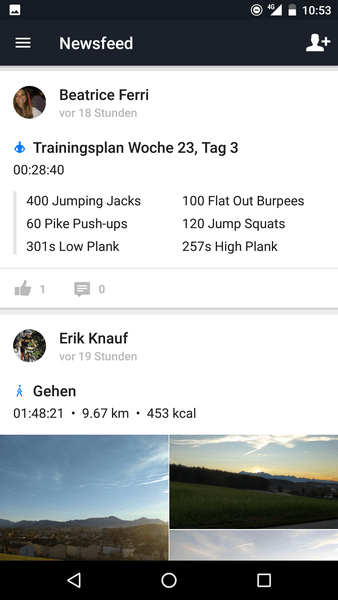 newsfeed results android screenshot