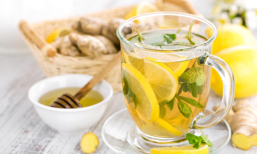 tisana zenzero, menta e limone
