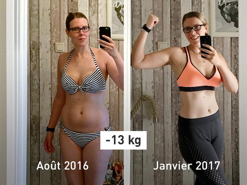 Photo de Patricia avant et après.