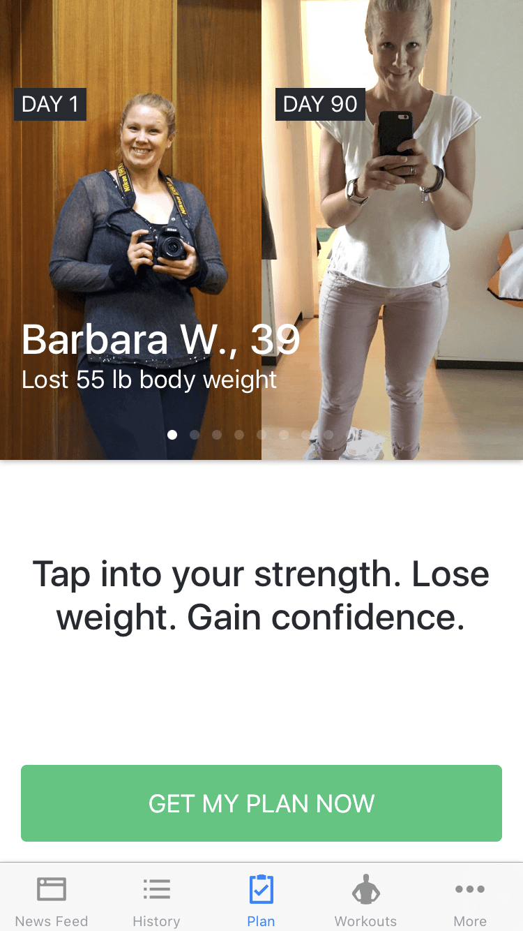 Before and after picture from a woman in the Runtastic Results app.