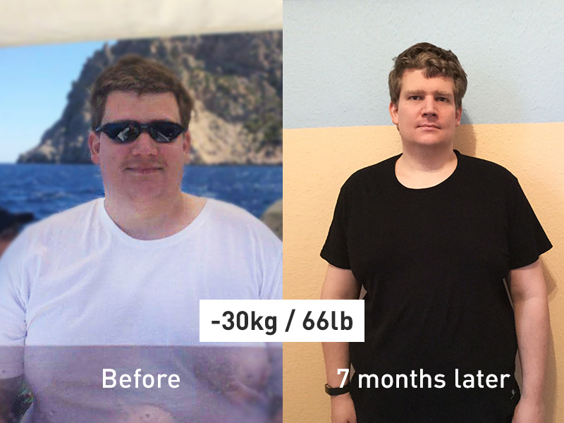 Before and after image of an Runtastic success story of Pascal.