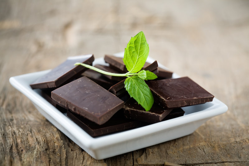Peppermint chocolate on a plate.