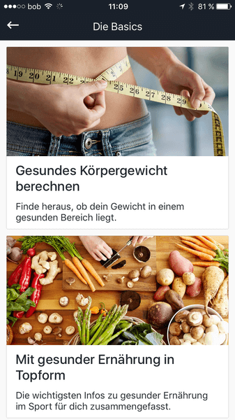 Runtastic Results Screenshot vom Nutrition Guide.