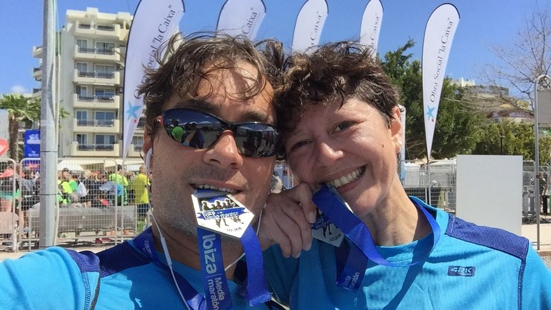 Happy couple after running a marathon