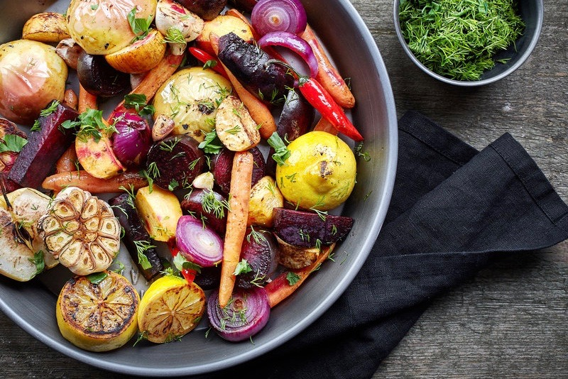 A plate with grilled vegetables