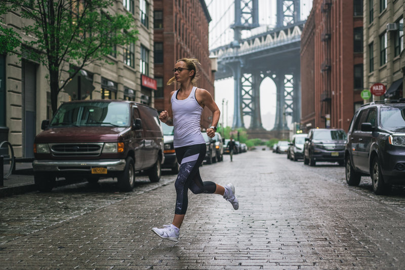 Woman running in Brooklyn