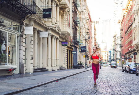A woman is running in New York City