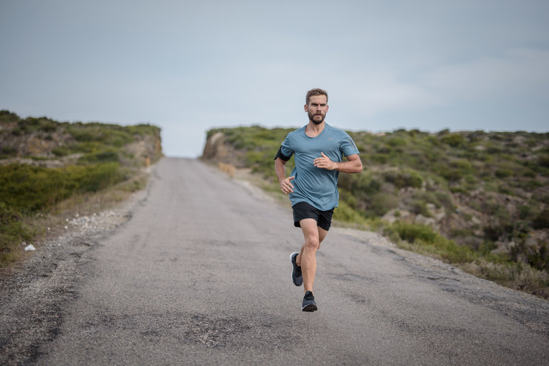 A man running alone on the street