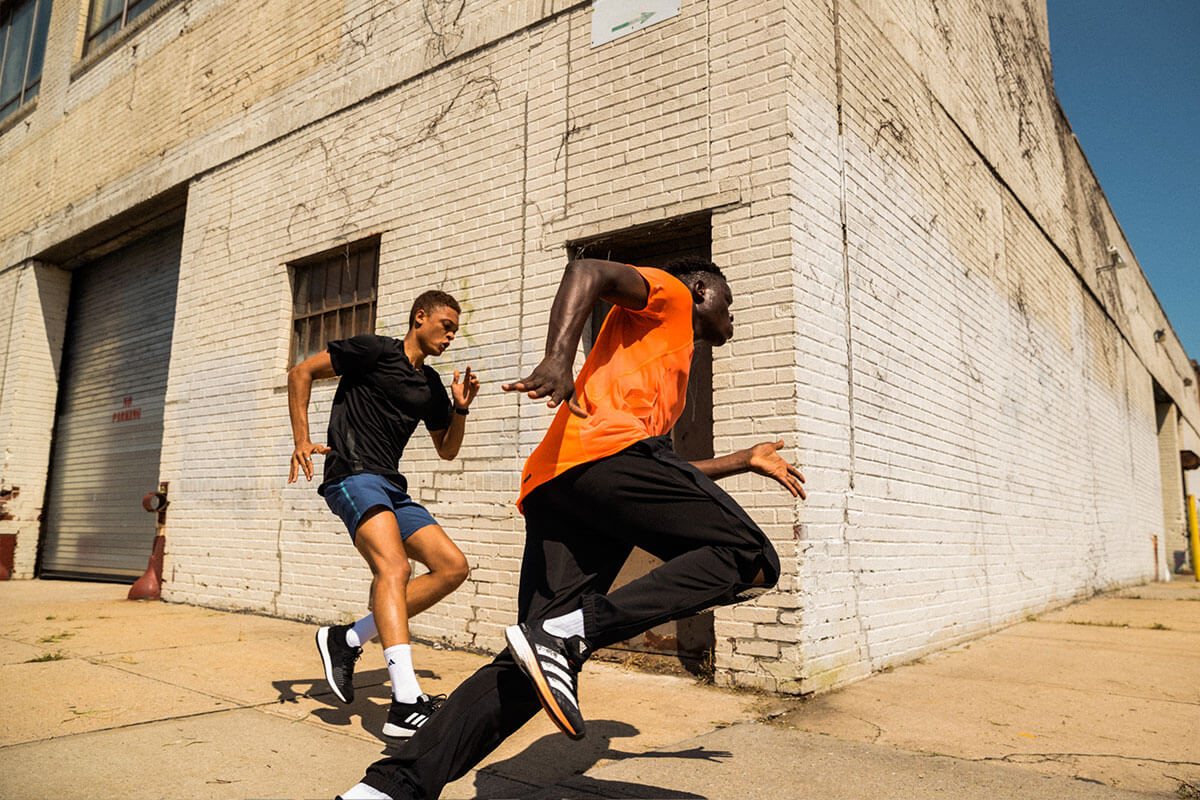 Group running on the street