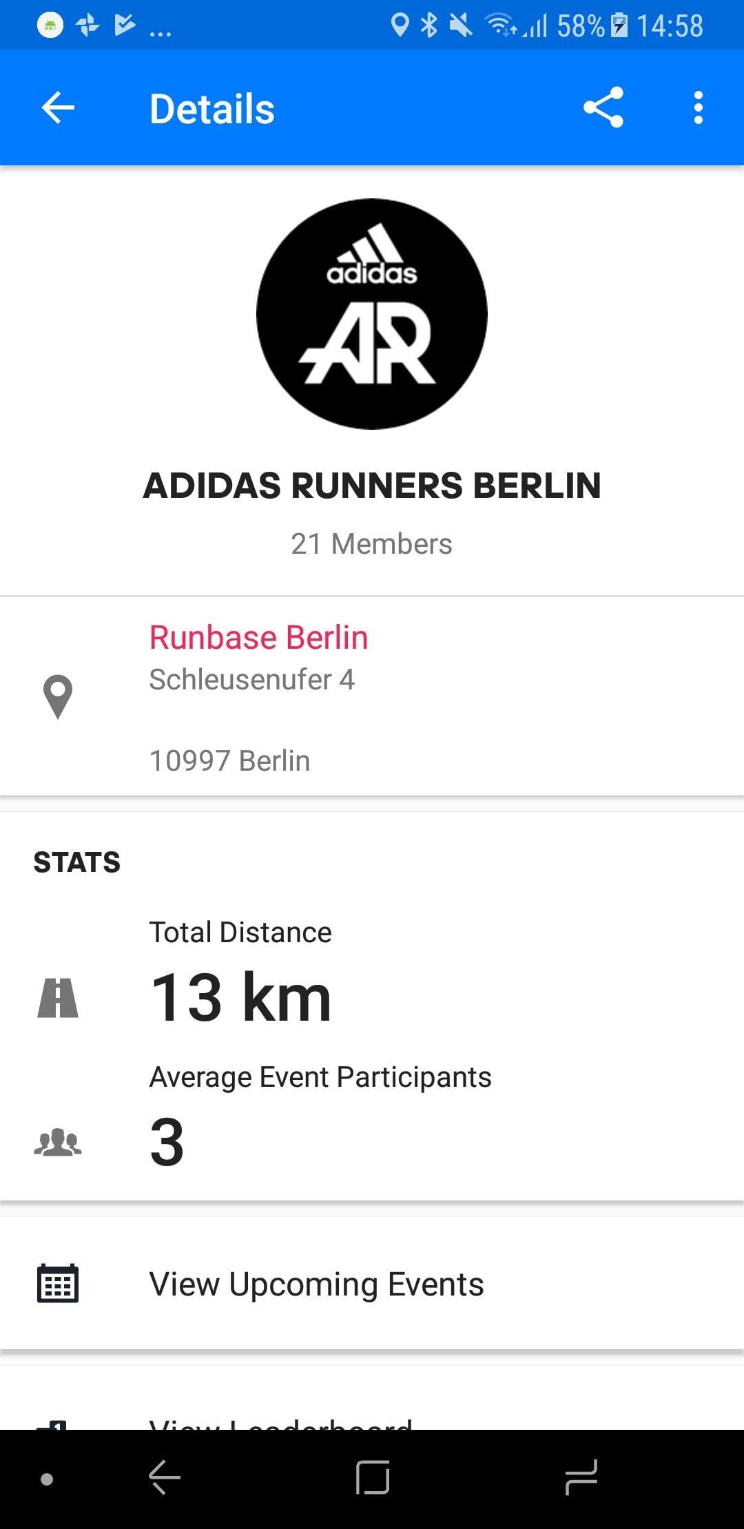 adidas Runenrs community in Runtastic