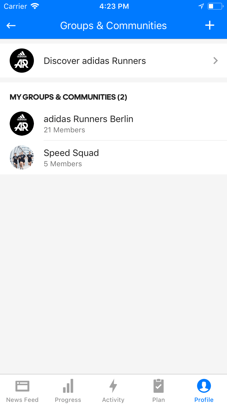 adidas Runners Groups in the Runtastic App