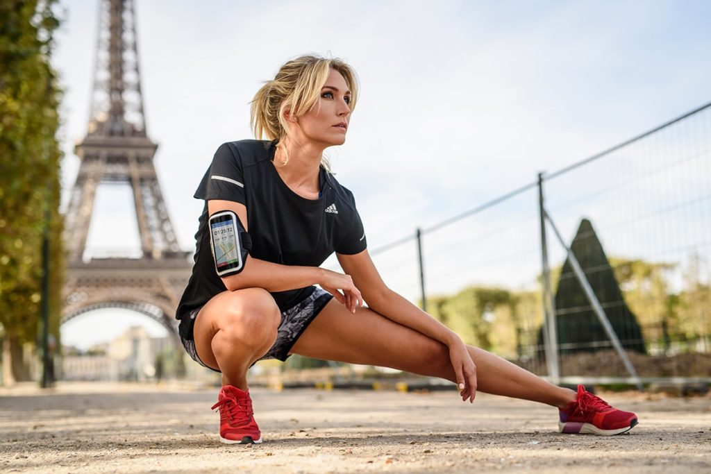 Woman warming up for a race in Paris.