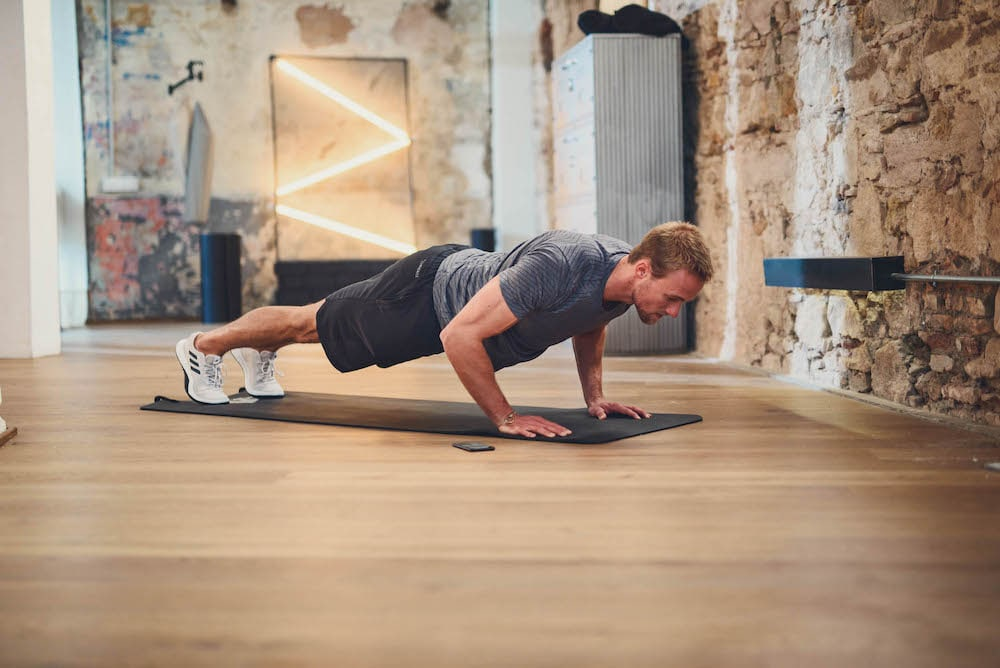 Man practicing a push up