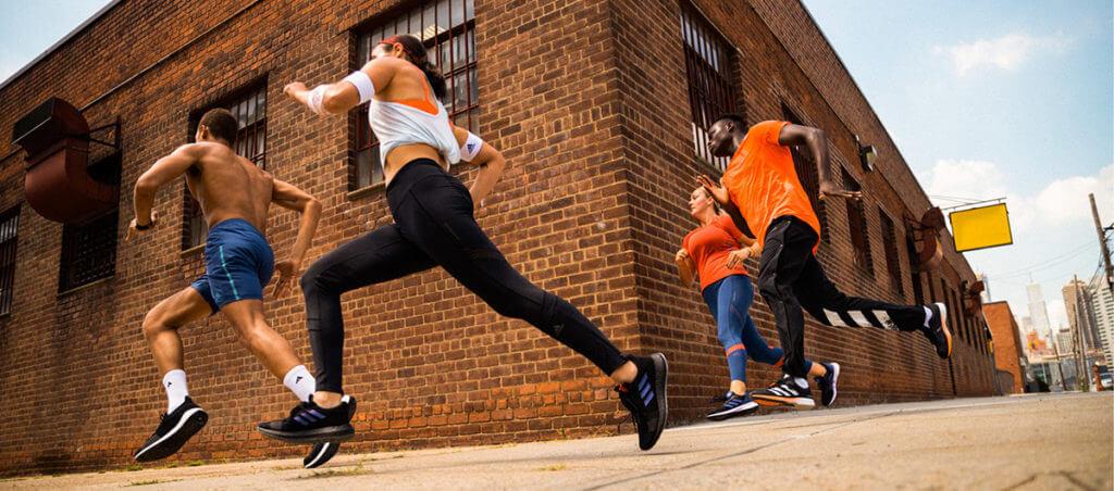 Group running around the corner