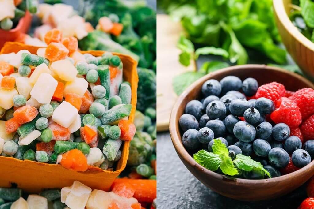 frutta e verdura fresca o surgelata