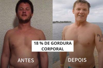Antes e depois de Vincent, que perdeu 18% de gordura corporal