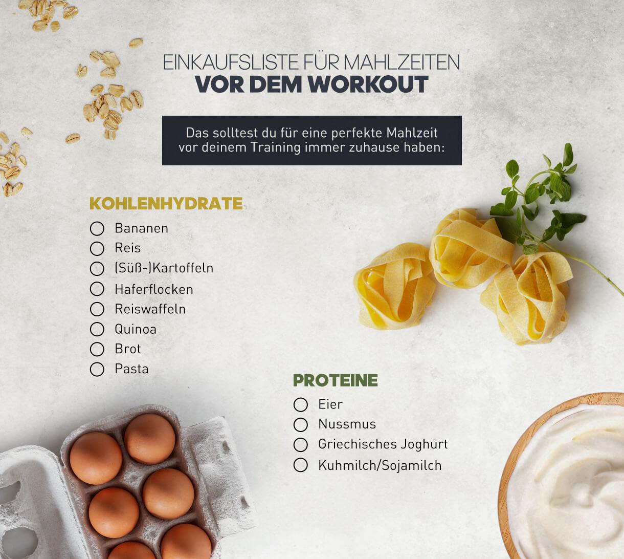 Liste für Mahlzeiten, die sich vor dem Training eignen