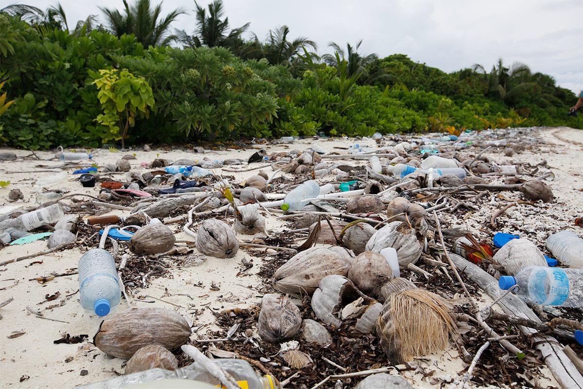 Muito lixo plástico na praia
