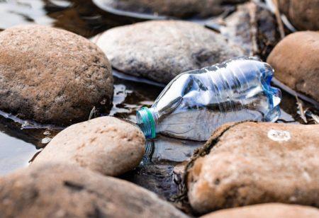 bottiglia di plastica in mezzo alla natura